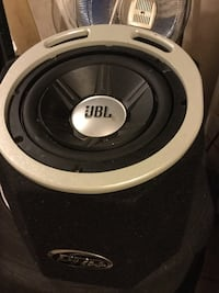 Black and white jbl subwoofer in enclosure London, N6E 2W3
