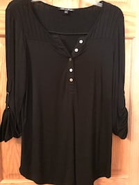 Women's black button-up long-sleeved shirt Fox River Grove, 60021