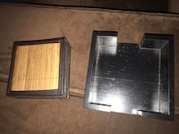Bamboo And Leather Coasters With Holder (Set Of 6). Edmonton, T5T 5X6