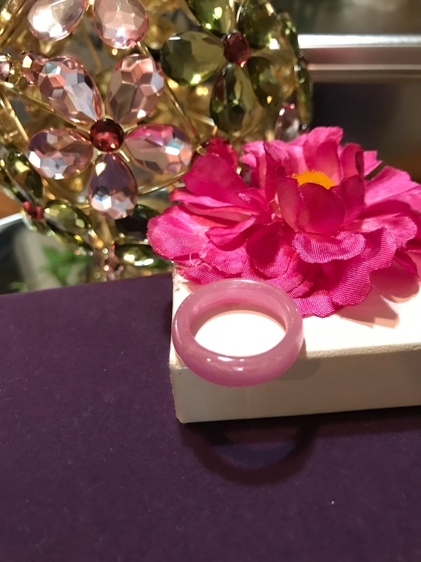 Pretty! Pink ! Unique Vintage Plastic Ring 48443e91-c4fe-4090-ba33-215118bf9437
