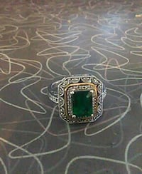 silver with emerald gemstone stud ring