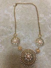 round gold-colored diamond encrusted pendant necklace Westminster, 21157