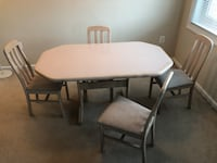 Rectangular white wooden table with four chairs dining set 25 mi