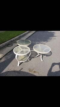 two white wooden framed glass top tables Falls Church, 22042