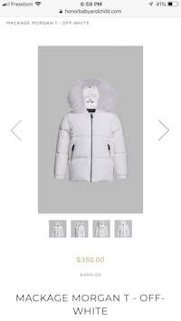 Mackage Morgan T Off White Baby Down Winter Jacket Brand new