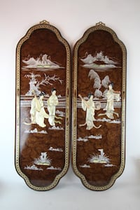 "2 Hanging Asian wood panels with raised figures  36x11.5"" Burlington"