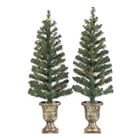2 Outdoor Lighted Christmas Porch Trees 3.5' w/Bronze Base Decoration Gulfport