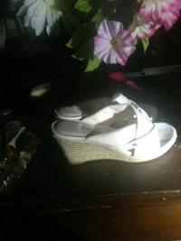 pair of white-and-brown wedge sandals Denver, 80209