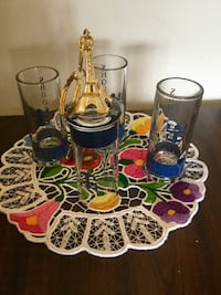 Shooters glasses from France - Paris   /  A set of 4 Shot glass with free gift  Paris - Gold tone keychain Alexandria, 22311