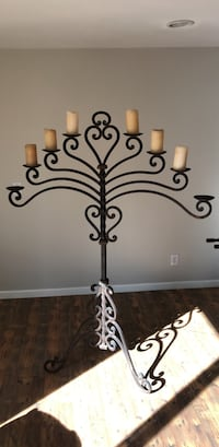 black metal candle holder with white pillar candle Phoenix, 85021
