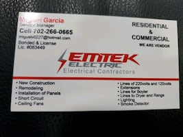 ELECTRITIAN. RESIDENTIAL AND COMERCIAL