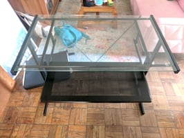 Black metal glass top desk with rolling chair