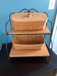 Longenberger wrought iron 2 tier bakers stand and baskets Ashburn, 20148