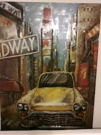 Brown metal framed painting of yellow Taxi Metuchen, 08840