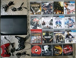 Playstation 3 / PS3 + 21 Games + 2 Controllers + All Connections