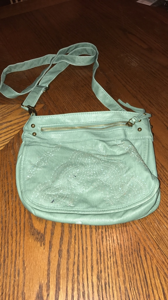 teal leather crossbody bag