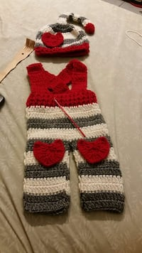 baby's white red and gray knit overall pants Cutler Bay, 33189