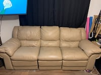 Beige Leather 3 Seat Double Recliner Pittston, 18640
