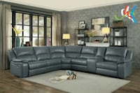 Falun Gray Leather Gel Power Reclining Sectional   Houston