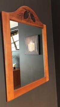 Wall mirror with brown wooden frame Johnson City, 13790