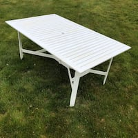 White outside pation and deck table