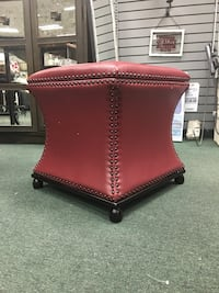 Red Genuine Leather Storage Ottoman  Heath, 43056
