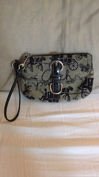 Black and gray coach monogram leather wristlet Branford, 06405