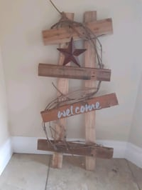 Handmade reclaimed wood welcome sign