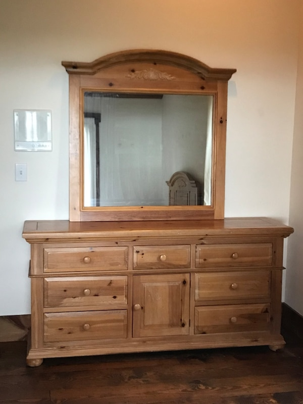 Wooden dresser with mirror by Broyhill