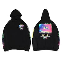 CHAMISTROY ZACPUN ASTRONAUT CASUAL HOODIE PULLOVER IN BLACK