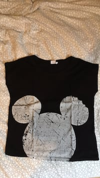 T-shirt crop top noir mickey  Alaincourt, 02240