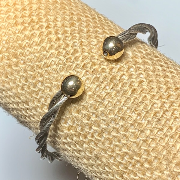 Classic Cable Cuff Bracelet with Solid 14k Yellow Gold Balls 9fb0cc99-ec21-426f-9c5f-a60420bba161