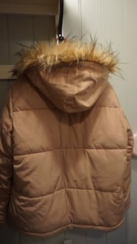 brunt skinn zip-up parka jakke Furnes, 2320