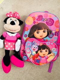 dora backpack & minnie mouse plush in good condition (pick up only) Alexandria, 22315