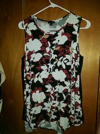 black, white, and red floral sleeveless dress Aurora, 80011