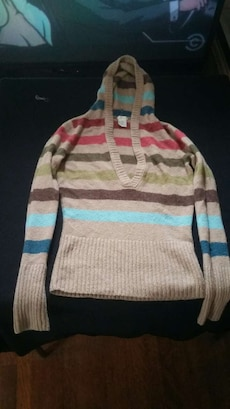 brown, blue, and red striped hooded sweater