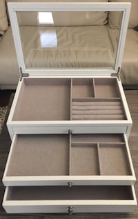 Pottery Barn 2-Drawer, Glass Lift Top Antique White Jewelry Chest