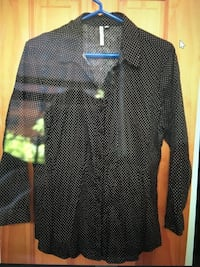 Grand and Greene and black with white polka dots collared button down shirt top sz large New York, 10128