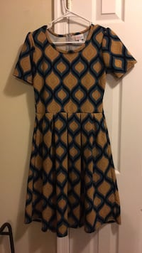 brown and teal sleeves crew neck dress North East, 21901
