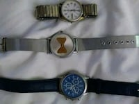 two round silver chronograph watches with black leather straps Amarillo, 79106
