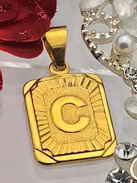 New! Gold coloured initials letter C pendant charm