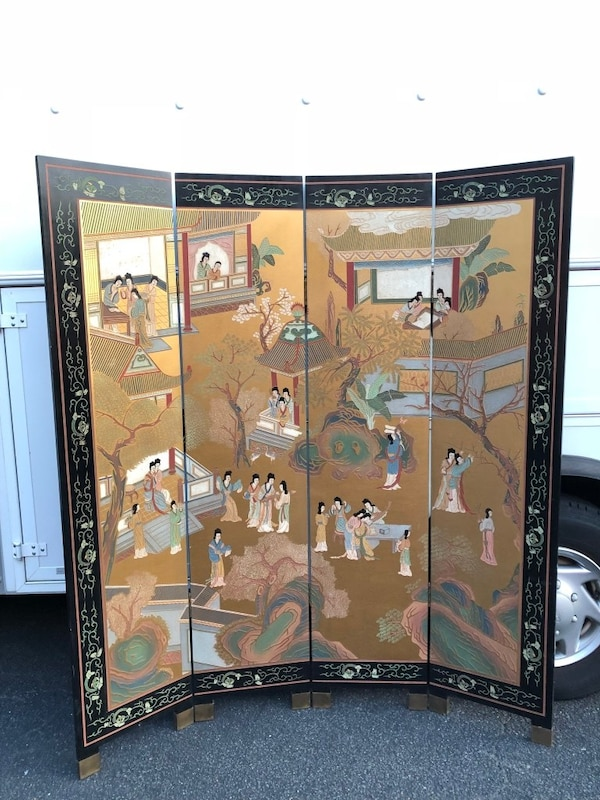 Hong Kong etched, painted wooden screen. Brought to U.S. in the 60's. Not perfect but good condition. 8c44c622-b645-412c-939c-fb2803f6ae41