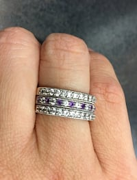 White Gold, White Sapphire and Amythest gemstone ring Knoxville