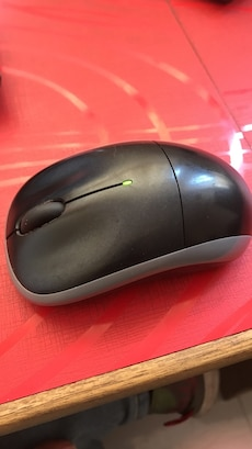 black and gray wireless computer mouse