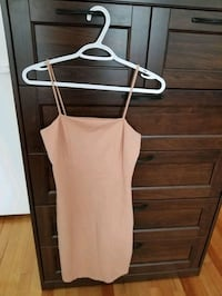 beige skinny strap dress
