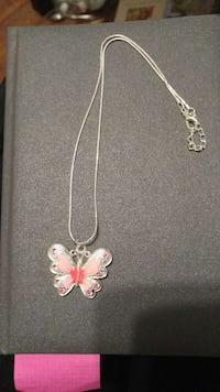 Pink butterfly pendant on chain Peterborough, K9J 1Y2