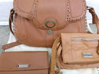 three brown leather bags
