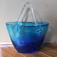 Vase-Turquoise Hand Blown glass  null