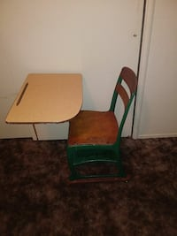 beige and green wooden school armchair