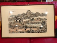 Framed Asian paintings. 1 pair - sold as pair - Pick up in Chantilly. Cash only! Chantilly, 20151